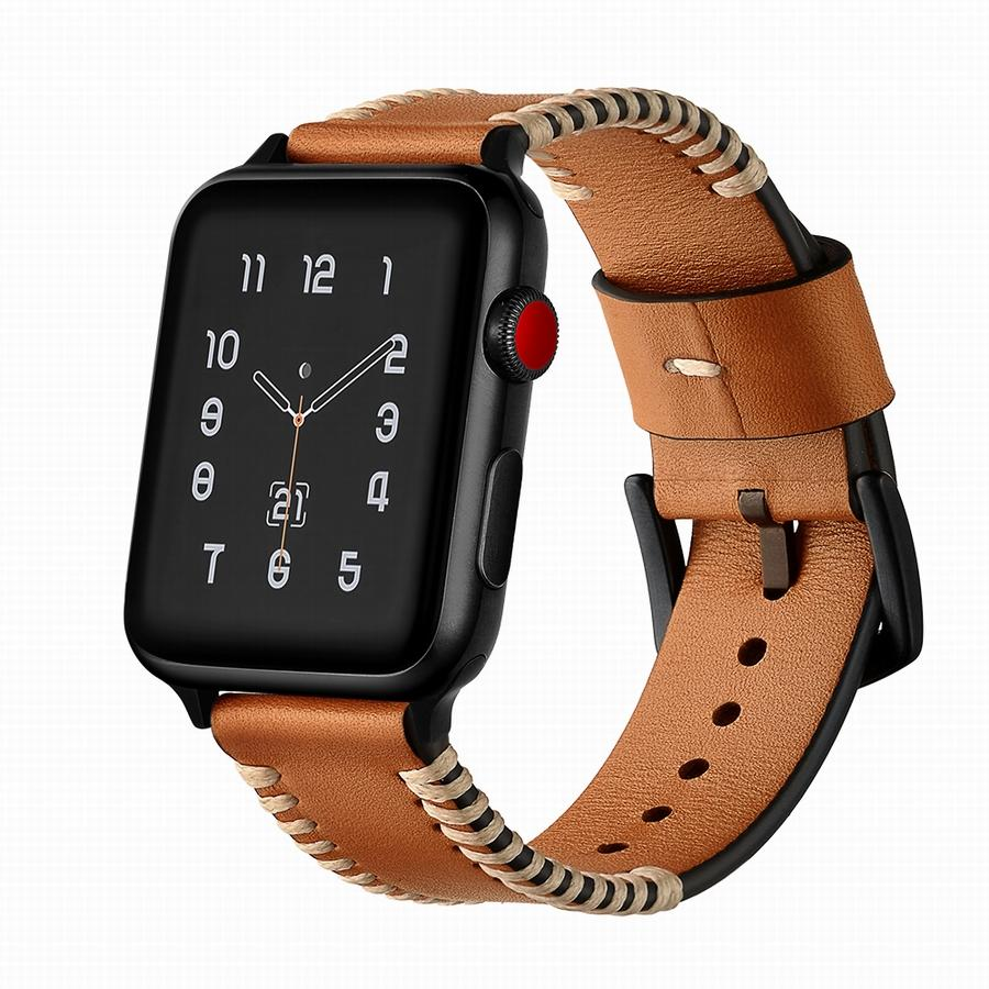 Genuine Leather iWatch Strap with Black Metal Clasp Buckle for Apple Watch BLAP181056